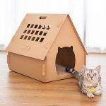Casa de cartón corrugado para gatos plegable
