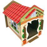 Casa de cartón para gato colorida con piso acanalado