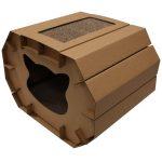 Casa de carton para gato con rascador