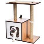 Casa de madera para gato sencilla con rascador