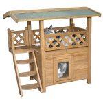 Casa de madera para gatos 2 plantas tejado y escalera
