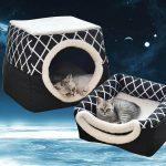 Cueva para gato convertible, lavable resistente a mordidas