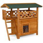 Hermosa casa de madera para gato modelo cabaña